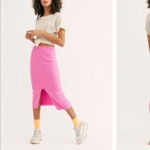 Hot pink free people skyline midi skirt